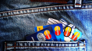 Mastercards in jeans pocket