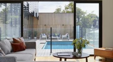 patio featuring steel sliding doors