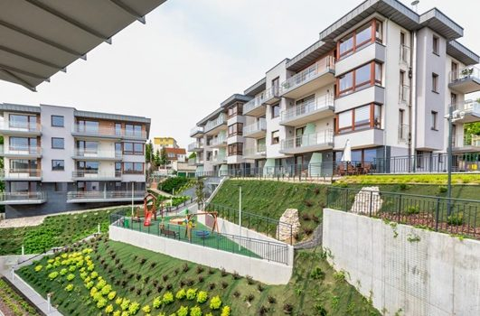 Rental apartments in residential complex