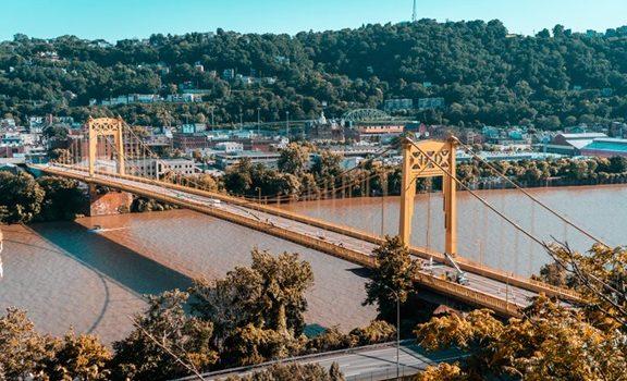 The Roberto Clemente Bridge in Pittsburgh