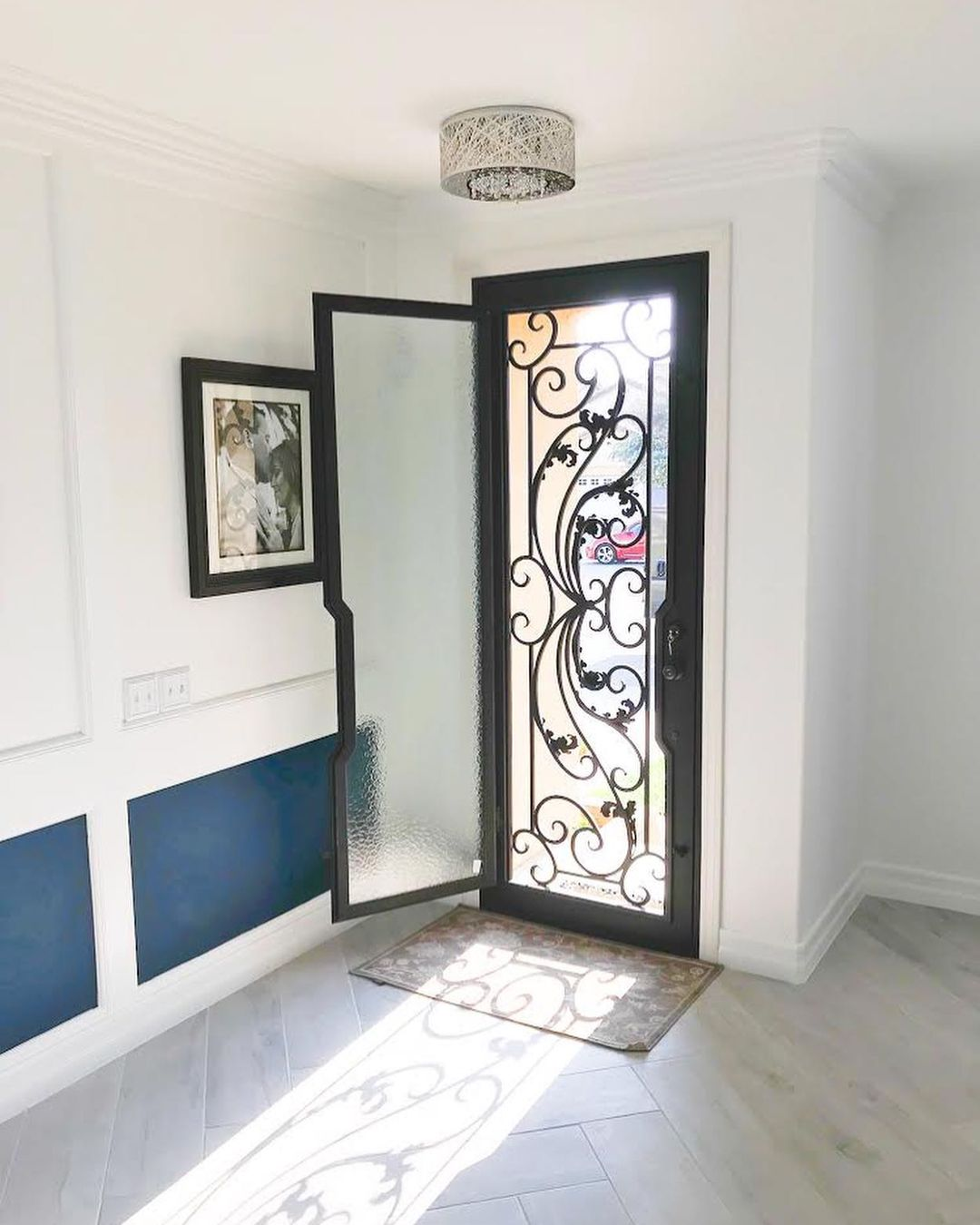 A beautiful single panel wrought iron entry door.