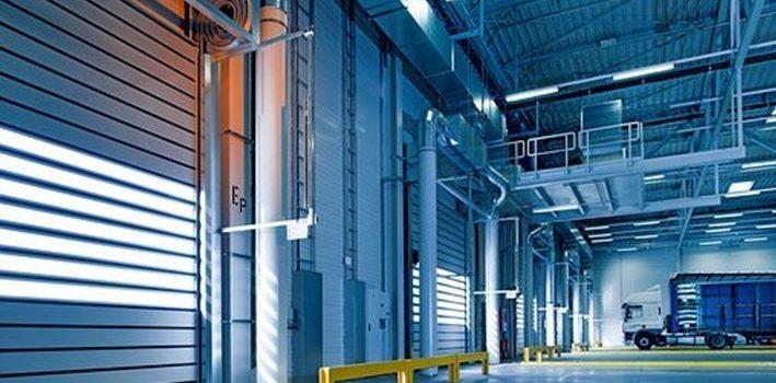 Overhead sectional doors installed in a warehouse in Toledo