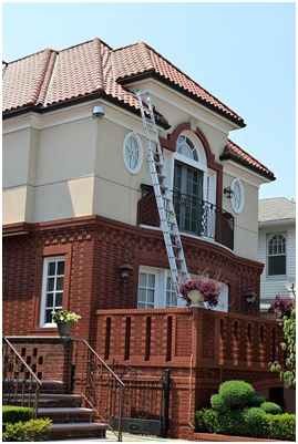 A ladder leading to the roof for home inspection services in Broward County