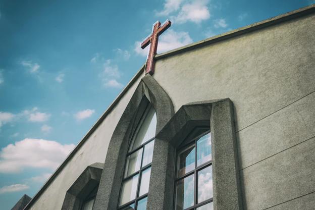A church with a Christian Cross