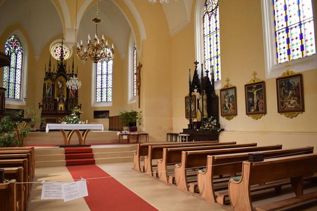 An interior view of a church in California