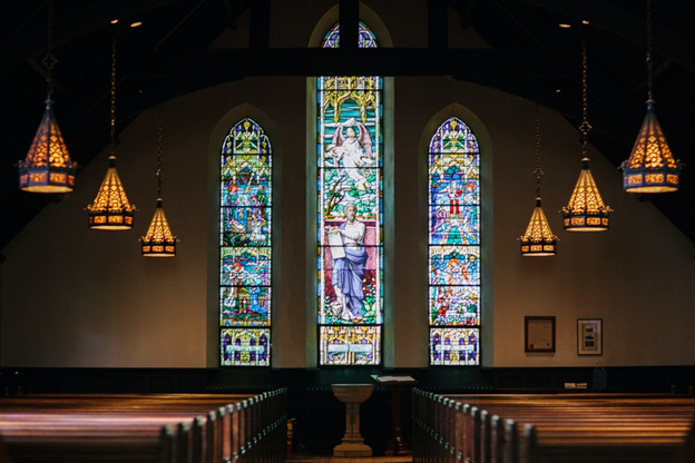 A Church with stained glasses in Texas.