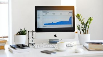 displaying-line-graph-placed-on-desk