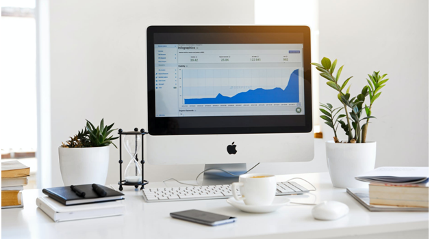 A company's revenue graph on a computer