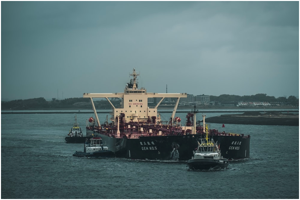 A ship carrying crude oil