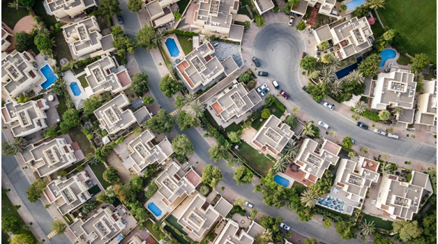 An aerial view of residential houses