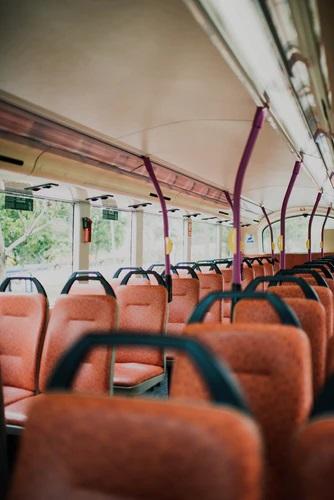 An empty church bus
