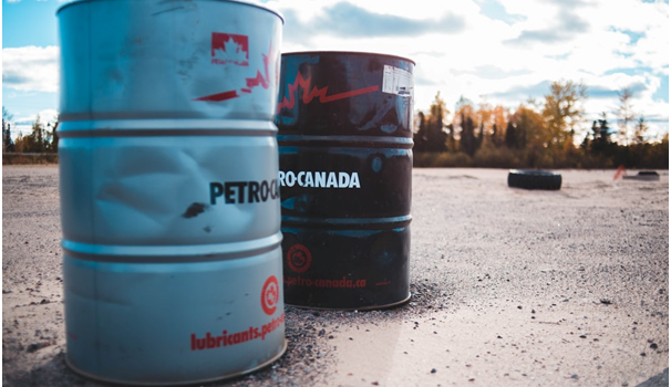 Oil barrels on the ground in Canada