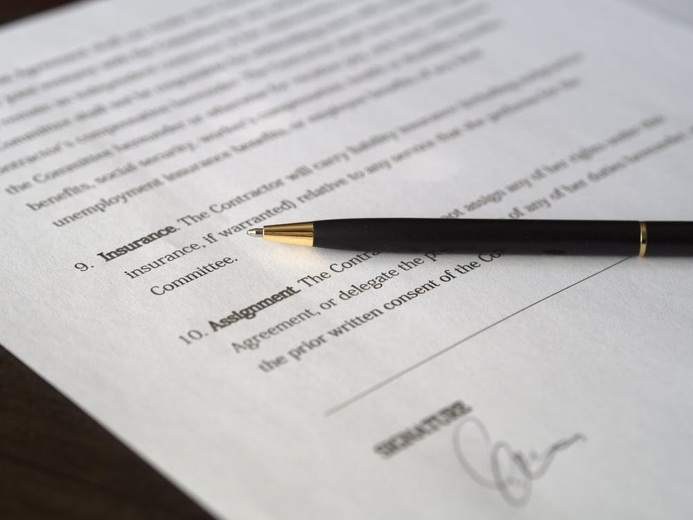 A pen on a document