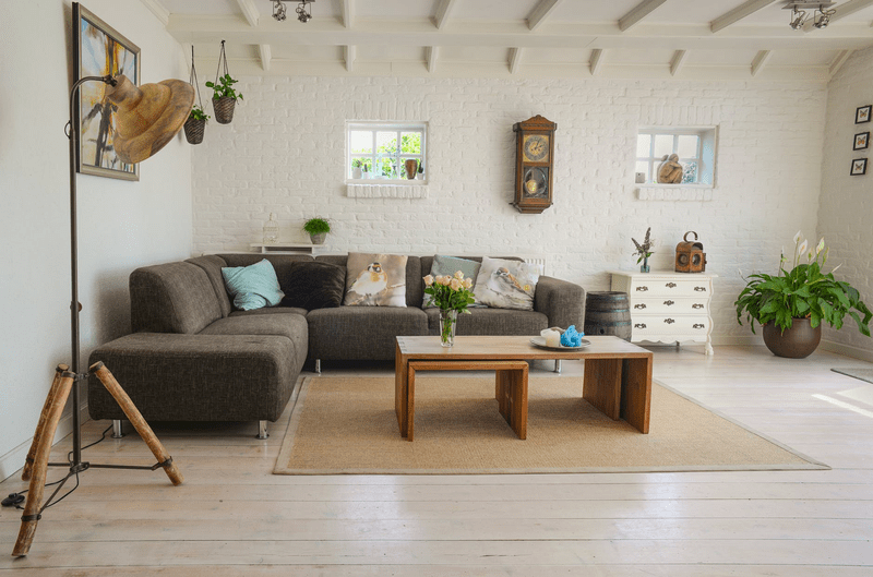 Living room with open space for circulation.